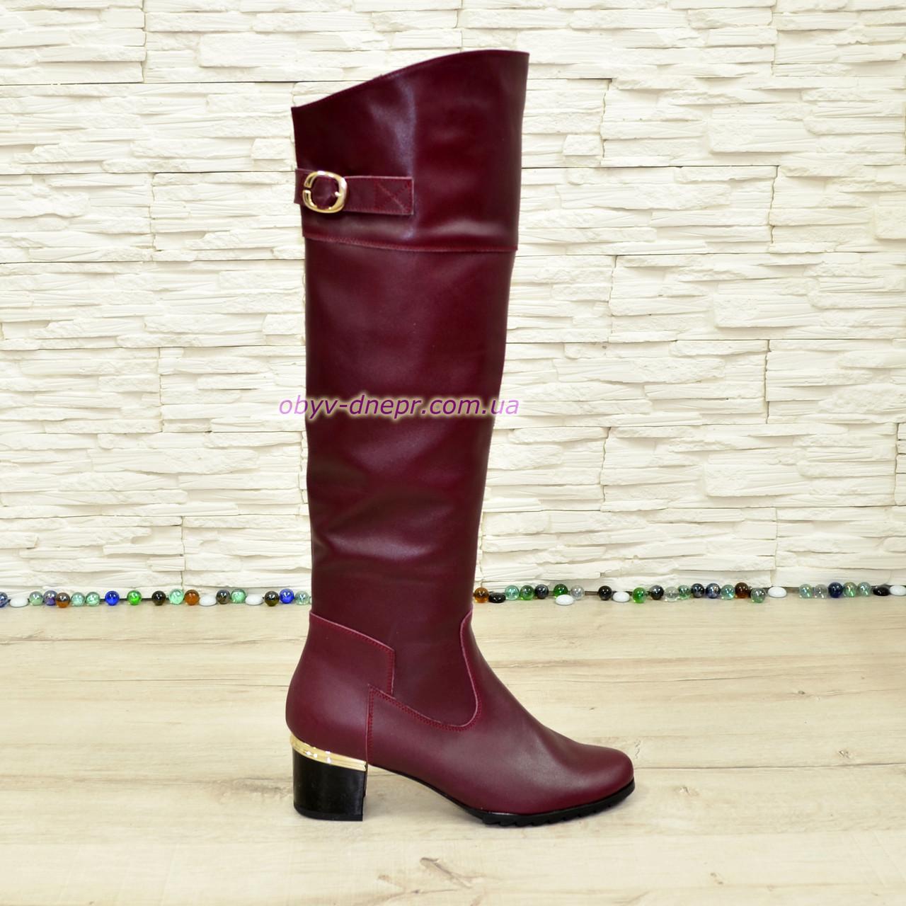Ботфорты кожаные женские зимние на каблуке, бордового цвета