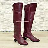 Ботфорты кожаные женские зимние на каблуке, бордового цвета, фото 2