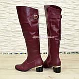 Ботфорты кожаные женские зимние на каблуке, бордового цвета, фото 3
