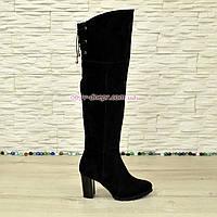 Ботфорты зимние замшевые на устойчивом каблуке, черный цвет., фото 1