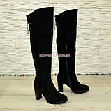 Ботфорты зимние замшевые на устойчивом каблуке, черный цвет., фото 2