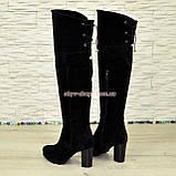 Ботфорты зимние замшевые на устойчивом каблуке, черный цвет., фото 3
