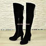 Ботфорты зимние замшевые на устойчивом каблуке, черный цвет., фото 4