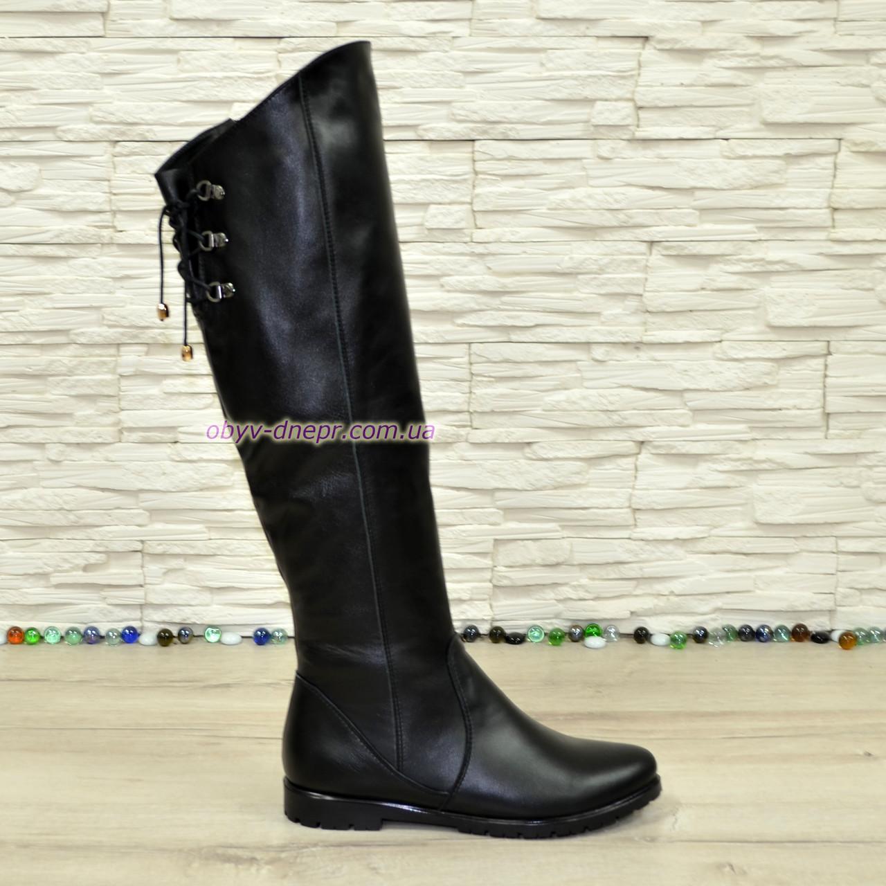 Ботфорты зимние женские кожаные на низком ходу, черный цвет.