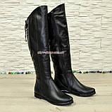 Ботфорты зимние женские кожаные на низком ходу, черный цвет., фото 2