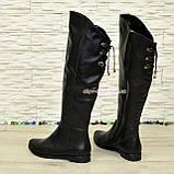 Ботфорты зимние женские кожаные на низком ходу, черный цвет., фото 3