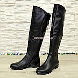 Ботфорты зимние женские кожаные на низком ходу, черный цвет., фото 4
