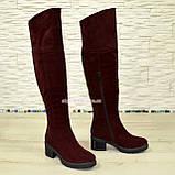 Ботфорты зимние бордовые замшевые на устойчивом каблуке, фото 2