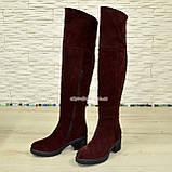 Ботфорты зимние бордовые замшевые на устойчивом каблуке, фото 4