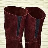 Ботфорты зимние бордовые замшевые на устойчивом каблуке, фото 5