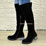 Ботфорты зимние замшевые женские на невысоком каблуке, цвет черный., фото 4