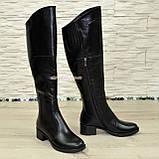 Женские зимние кожаные ботфорты на устойчивом каблуке, фото 2