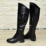 Женские зимние кожаные ботфорты на устойчивом каблуке, фото 3