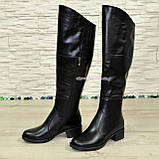 Женские зимние кожаные ботфорты на устойчивом каблуке, фото 4