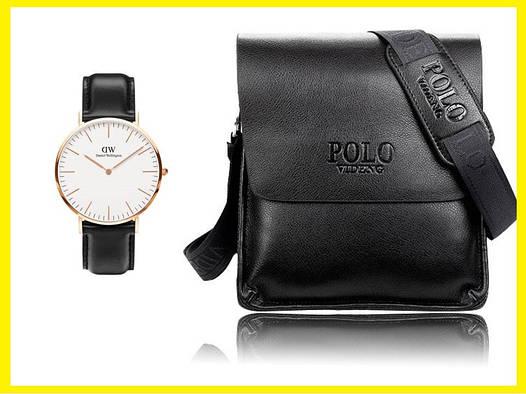 Мужская сумка через плечо Polo Videng. Часы в Подарок