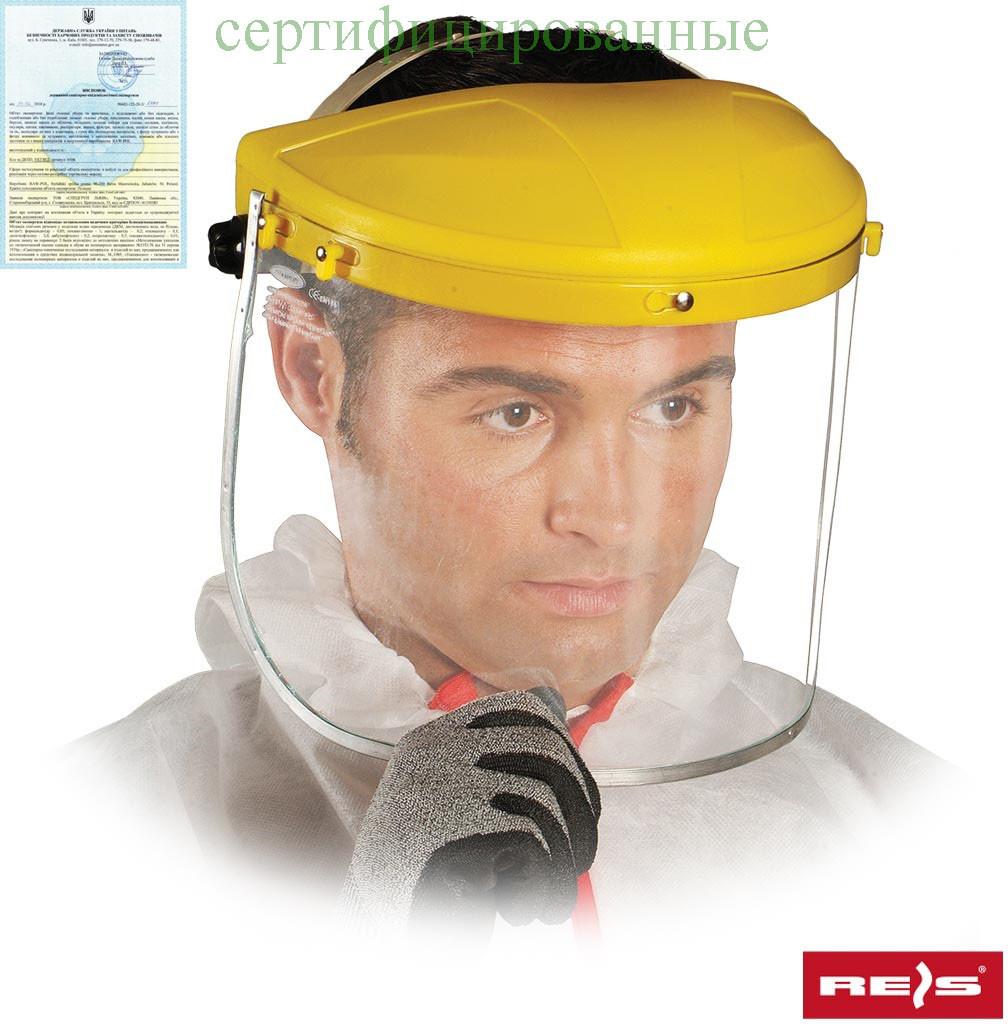Захист для особи, яка складається з противоосколочного скла, оголов'я і шарнірного блоку OTY Y
