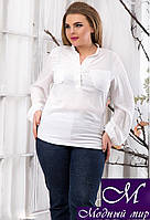 Женская белая летняя блуза больших размеров (р. 48, 50, 52) арт. 13612