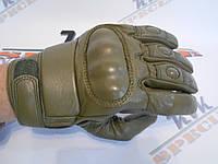 Тактические перчатки с костяшками олива утепленные, фото 1