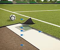 Система для укладки покрытий из искусственной травы на футбольных полях в соответствии с нормами FIFA