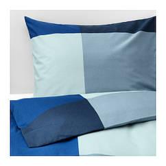 Комплект постельного белья IKEA BRUNKRISSLA 150x200/50x60 см синий серый 903.754.19
