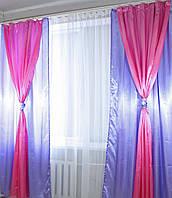 Декоративные шторы из атласа. 2,5*1,4