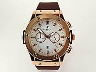 Мужские часы HUBLOT - Big Bang каучуковый коричневый ремешок, цвет золото