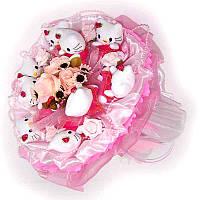 Букет из мягких игрушек Котики Хэллоу Китти 9 в розовом