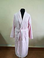 Махровый  халат розового цвета (XXL)