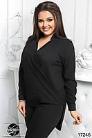 Женская шифоновая блуза черного цвета с длинным рукавом и асимметричным низом. Модель 17246. Размеры 50-56, фото 1
