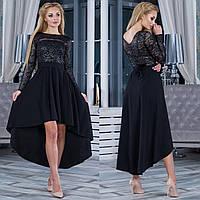 """Черное вечернее асимметричное платье с гипюром """"Афродита"""""""