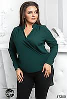 Женская шифоновая блуза зеленого цвета с длинным рукавом и асимметричным низом. Модель 17250. Размеры 50-56, фото 1