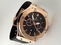 Мужские часы HUBLOT - Big Bang каучуковый черный ремешок, цвет золото, фото 1