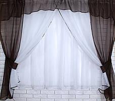 Комплект кухонные шторки с аркой и подвязками №17 Цвет венге и белый