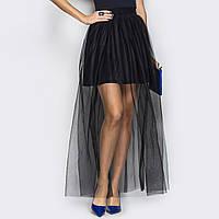 """Женская стильная черная юбка вечерняя с фатином """"Флирт"""""""