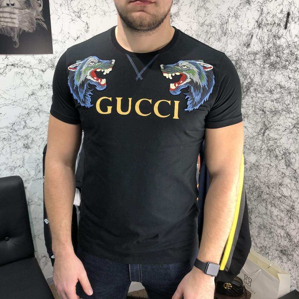 32e8354a0dbf Футболка T-Shirt Gucci With Wolf Black, Копия - Интернет-магазин TopCross в