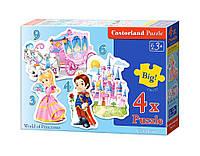 """Пазлы  детские """" Мир принцесс"""" 4* Puzzle: 3/ 4/ 6/ 9 элем. Castorland Польша"""