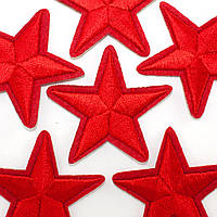 (5шт) Звезда МАЛ.КРАСНАЯ (4х4см), термоаппликация. Цена за 5 шт