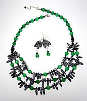 Колье + серьги - Обсидиан, Хризопраз, натуральный камень, цвет зеленый, серый