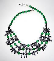 Колье  - Обсидиан, Хризопраз, натуральный камень, цвет зеленый, серый