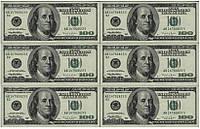 """Вафельная картинка """"Деньги 100$"""", 20х30 см"""