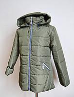 Детская куртка на девочку оливкового цвета 3-8лет, фото 1