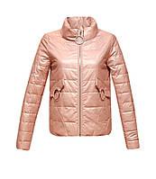 Куртка Zilanliya экокожа демисезонная короткая розовая