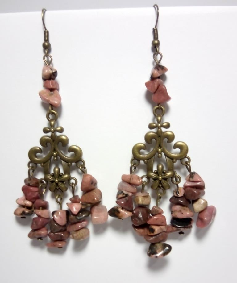 Серьги из Родонита, натуральный камень, цвет буро-красный и его оттенки, тм Satori \ S - 0062