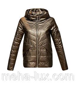 Куртка Zilanliya экокожа демисезонная короткая с капюшоном бронза