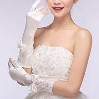 Перчатки свадебные атласные длинные (молочного цвета)