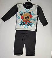 Костюм — флис 6-9 мес. Детский спортивный  костюмчик Штаны и кофта Мишка в берушах