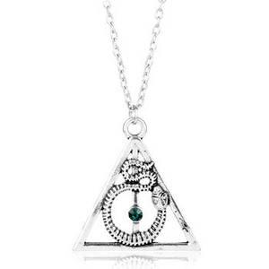 Кулон Дары Смерти из Гарри Поттера со змеем и зеленым кристаллом Harry Potter