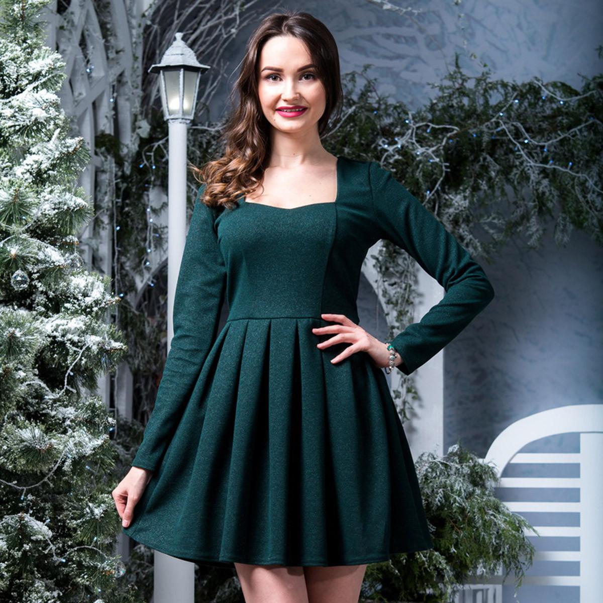"""Молодежное стильное зеленое платье """"Омега"""""""