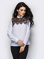 (S, M, L) Молодіжна біла блузка з гіпюром Kriss