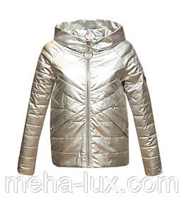 Куртка Zilanliya экокожа демисезонная короткая с капюшоном серебро